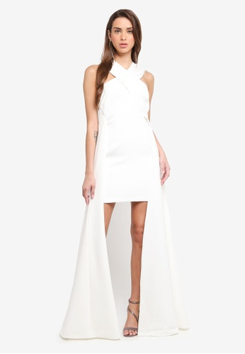 MISSGUIDED white Peace + Love Crossover Mini Dress 685D2AA3D506C6GS_1
