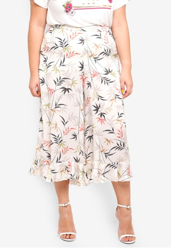 ELVI pink and multi Plus Size Gyoku Frill Hem Culottes In Leaf Print 3A48CAAF4190ADGS_1