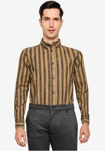 !Solid brown Juan Striped Shirt 3F933AAC94F5B1GS_1