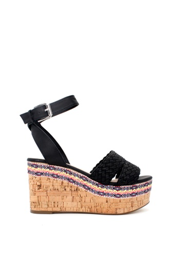 London Rag black Wendy Double Strap Wedges 3CD0BSHD284254GS_1