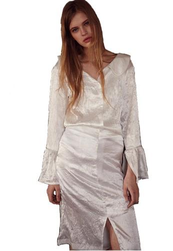17SS褶皺白裙, 服飾,esprit au 裙子