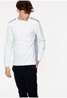 【ZALORA】 Casual 異材拼接 後長擺羅紋長袖T-03922-白色