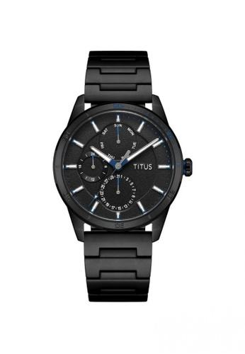 Solvil et Titus black Nordic Tale Men's Multi-Function Quartz Watch In Black And Black Stainless Steel Bracelet B5FFFAC1FC54AAGS_1