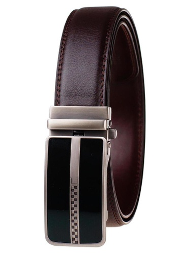 FANYU brown Leather Dress Belt With Automatic Buckle belt 91F3CACEB5BA6BGS_1