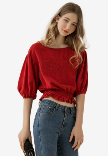 Eyescream red Embroidered Puff Sleeves Blouse F8BDFAAC83A5A4GS_1