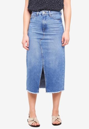 ICHI blue Gulip Midi Skirt 4A7CAAAAE690EDGS_1