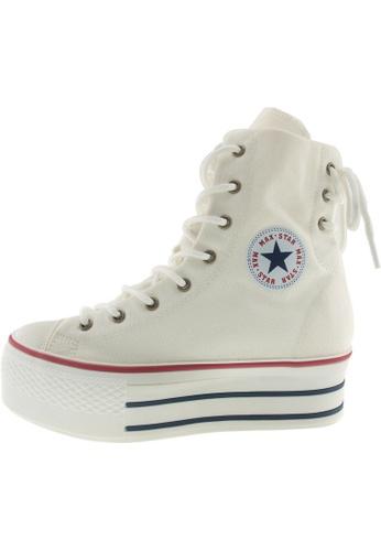 Maxstar 白色 新款韩国鞋C50-Back-3H時尚帆布布混合女白色 US Women Size MA345SH99GXCTW_1
