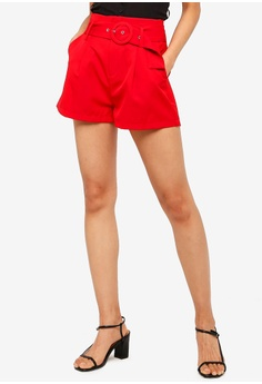 a58eccf4915 ZALORA red Shorts With Buckle Details 8EF71AA4FCB695GS_1