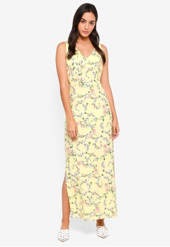 Dorothy Perkins yellow Petite Yellow Ditsy Maxi Dress 1E24BAA256BAADGS_1