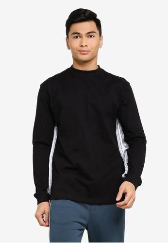 Mennace black Long Sleeve Branded Mennace Limited Side Tape Tee 08BF5AABAF76BCGS_1
