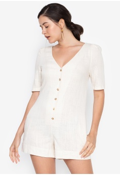a323bacf3e the   edit white Willow Linen Playsuit 412D8AA81F902FGS 1