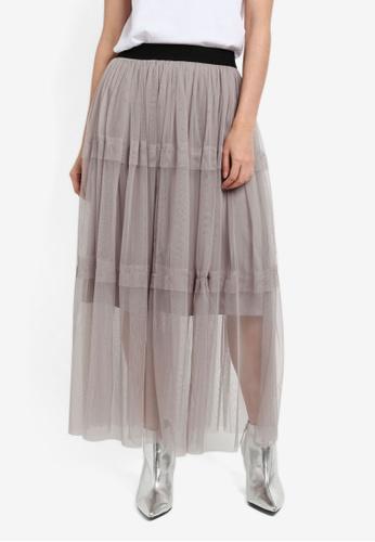 Vero Moda grey Eira Ancle Skirt VE975AA0S3YPMY_1
