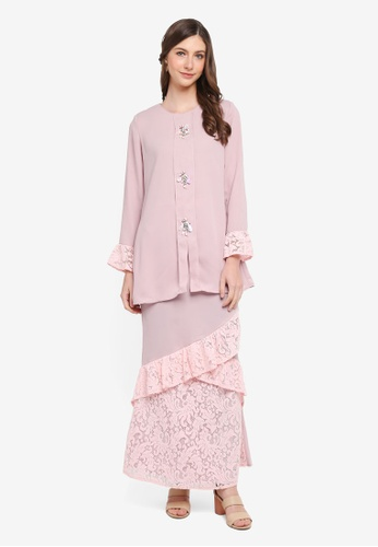 peace collections pink Flute Sleeves Kurung 29D86AA825006BGS_1
