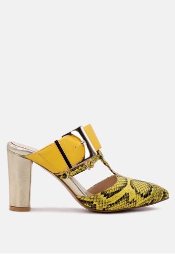 London Rag 黃色 London Rag蛇纹尖头拖鞋 176F7SH2A45AC1GS_1