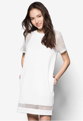 網眼拼接直筒連身裙, 服飾, 短zalora退貨洋裝