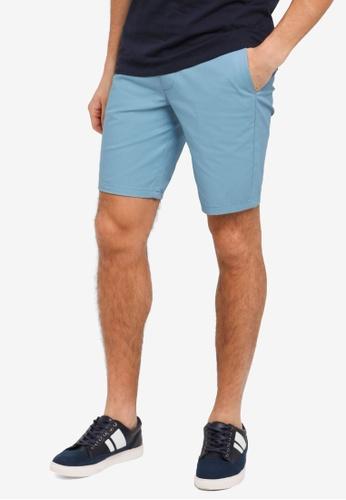 Burton Menswear London 藍色 修身休閒短褲 BU964AA0T1I5MY_1