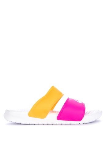 8191e6657fe Nike white and multi Nike Benassi Duo Ultra Slide Sandals 89349SH72C5B14GS_1