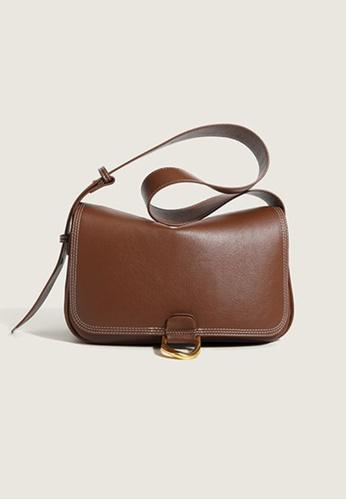 Lara brown Women's Plain Glossy Soft Leather Flap Cross-body Bag - Light Brown 78154AC14EEA9FGS_1