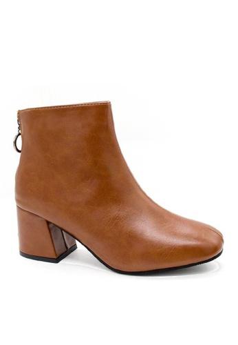 Twenty Eight Shoes brown VANSA Back Zipper Mid Boots VSW-B688 33D8FSHB06F535GS_1