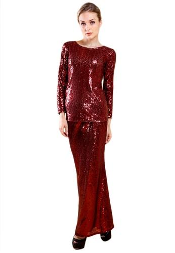 Maribeli Butik Feminin Sequin - Maroon from Maribeli Butik in Red