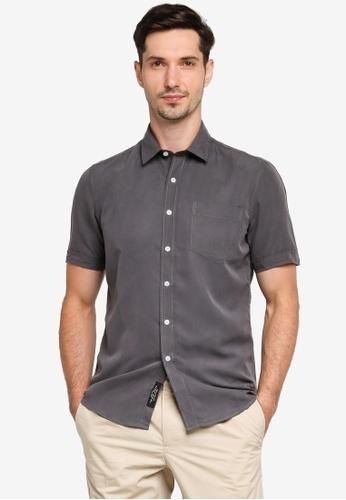 UniqTee grey Regular Fit Short Shirt With Pocket 5B13BAAC8B904FGS_1