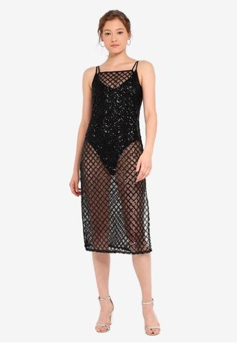 370d2163ccd Miss Selfridge black Black Sequin Mesh Midi Dress FC989AA6CA91C4GS 1