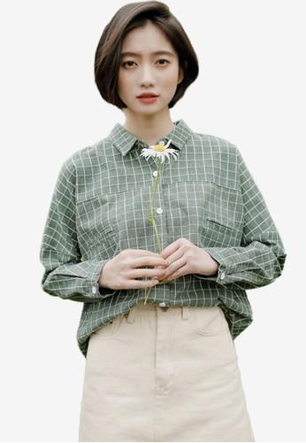 Shopsfashion green Checked Loost Fit Shirt 87D2DAAFFF3926GS_1