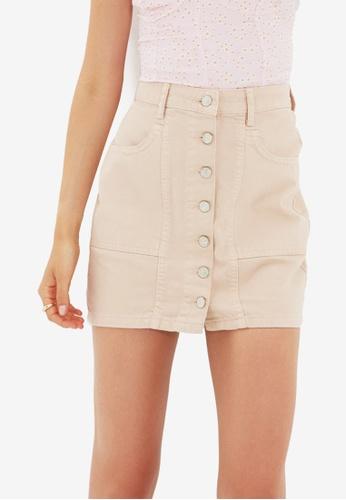 Trendyol beige Denim Skirt 39AB6AA4952C00GS_1