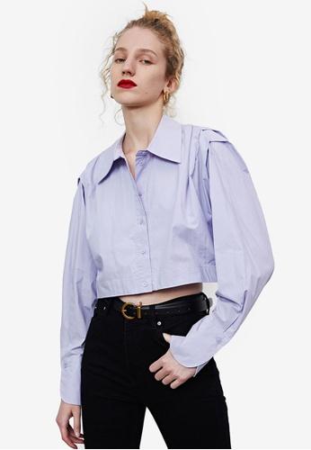 Urban Revivo purple Pleated Cropped Shirt F76A5AAACA1137GS_1