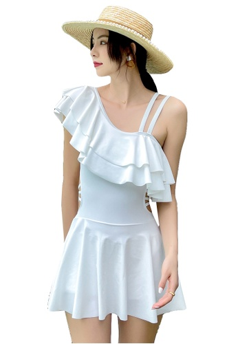A-IN GIRLS white One-Shoulder Ruffled One-Piece Swimsuit 96BEEUS683B0F6GS_1
