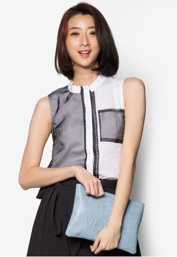 配色口袋立領無袖esprit台灣官網上衣, 服飾, 上衣