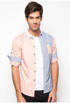 Oscario Quarter Sleeve Button-Down with Tab Details