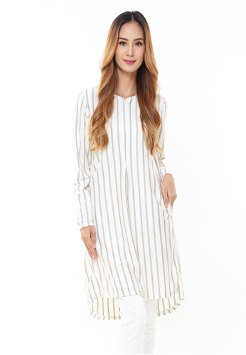 Rina Nichie Basic white Julia Stripe Tunic Off White Grey 3B8CFAA635877BGS_1