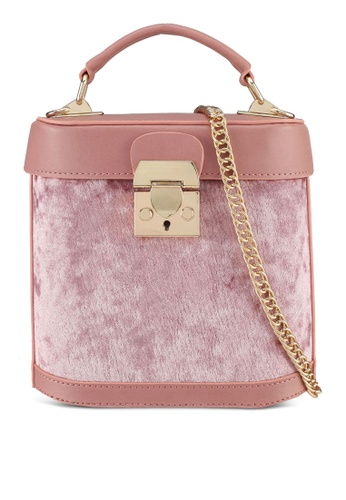 Velvet pink Cylinder Small Tophandle Bag 812D3AC4B35B46GS_1