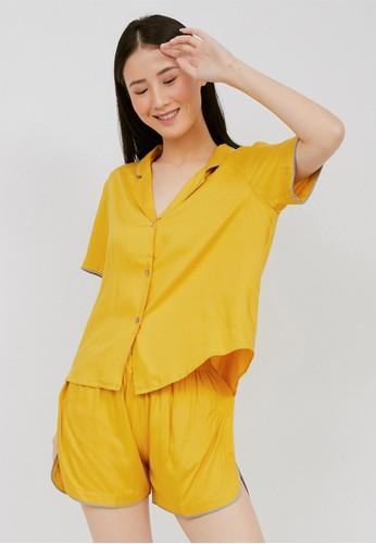 Harper House yellow Vivienne Short PJ Set FF0A2AA6C04EA7GS_1