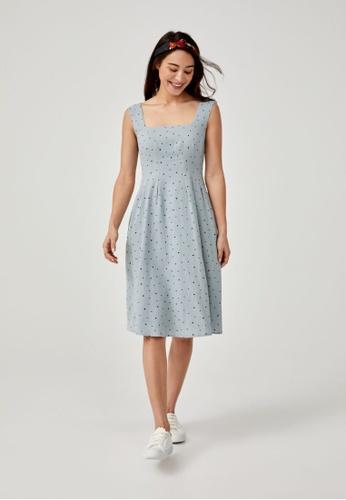 Love, Bonito blue Aalinah Printed A-line Midi Dress D09BDAA5C46439GS_1