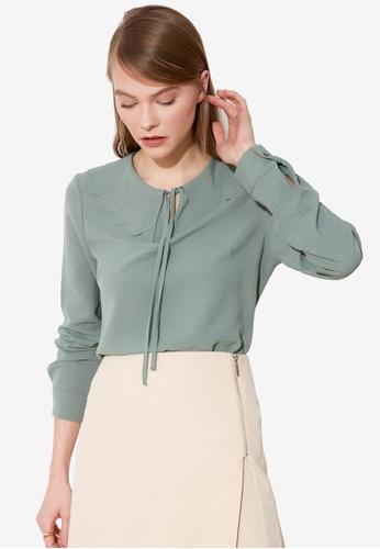 Trendyol green Tie Collar Detail Blouse 02B7AAA84E806FGS_1