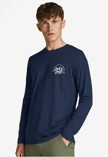 Jack & Jones navy Kimbel Long Sleeves Tee 4E8E8AAA9958F3GS_1
