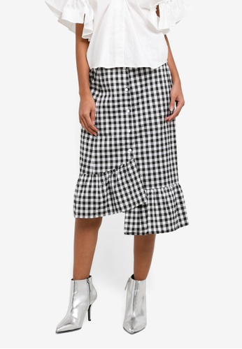 bYSI black and white Gingham Button Ruffled Skirt BY867AA0S3L7MY_1