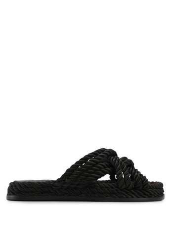Mango black Interwoven Cord Sandals 510F7SHA48BA97GS_1
