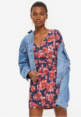 TOPSHOP navy Petite Floral Print Wrap Mini Dress 0D9AAAA0870DFAGS_1