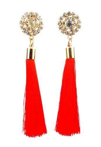 BELLE LIZ red Red Dangling Tassel Elegant Earrings 55255AC3A4B9F4GS_1