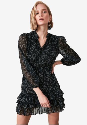 Trendyol black Tie Front Ruffle Dress ACD8AAAFEDF8CDGS_1
