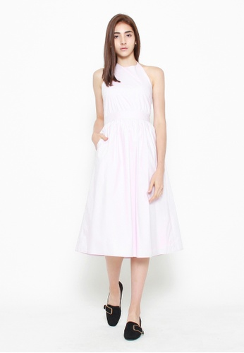QLOTHE pink Genevieve Cinched Waist Midi Dress 476F2AA3808ED5GS_1