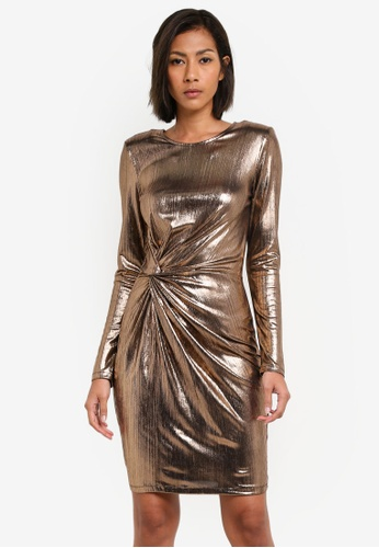 WAREHOUSE gold Metallic Knot Mini Dress WA653AA0S7CZMY_1