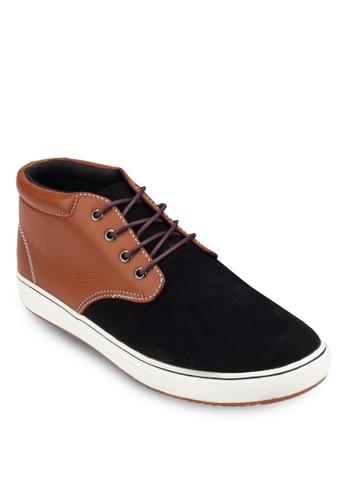 麂皮皮革拼接繫帶踝靴,esprit 見工 鞋, 鞋