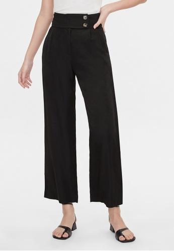 Pomelo black High Waist Double Button Pants - Black 69877AA7C918BCGS_1