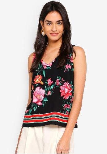 Dorothy Perkins black Petite Black Floral Shell Top 65626AA9FAD5D7GS_1