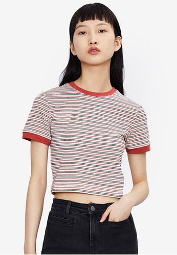 Urban Revivo red Stripe Short Sleeve T-Shirt E9931AAD5FAE7AGS_1