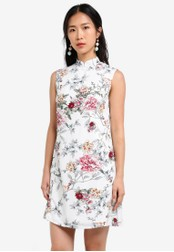 ZALORA white Mandarin Collar Printed Dress 6E124AADDEDF36GS_1